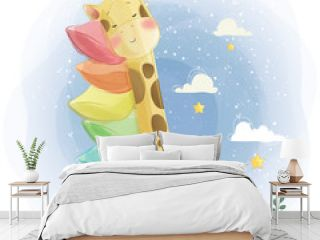 Cute Giraffe Sleeping on Rainbow Pillows