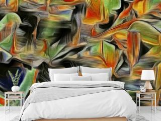 abstract fractal psychedelic shape texture with color pencil stylization
