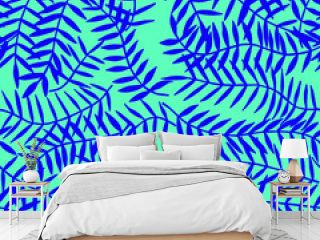 tropical leaves seamless pattern. eps10 vector illustration. hand drawing