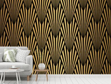 Art Deco Pattern. Seamless black and gold background