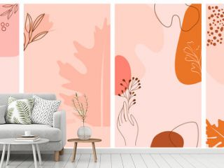 Set of abstract background with autumn elements, shapes and plants in one line style. Background for mobile app page minimalistic style. Vector illustration
