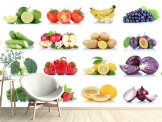 Fruits vegetables collection isolated apple apples oranges cabbage tomatoes banana colors fresh fruit