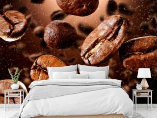 Brown coffee grains and free space for your decoration.