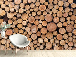 Stacked Wood Logs Pattern Background