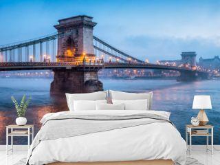 Chain Bridge panorama in Budapest, Hungary