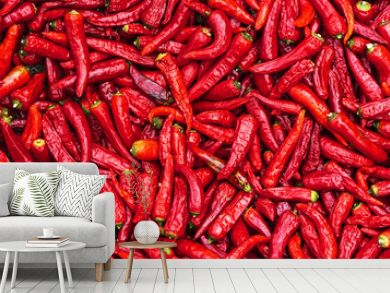 Close up group of red hot chilli peppers  pattern texture backgr