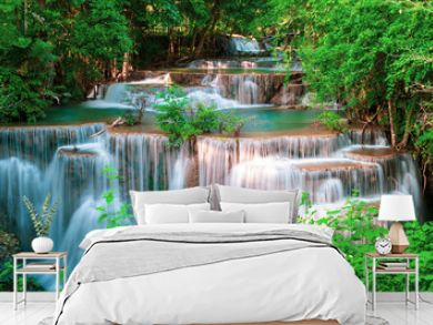 Huai Mae Kamin waterfall Srinakarin at Kanchanaburi, in Thailand.Onsen atmosphere.