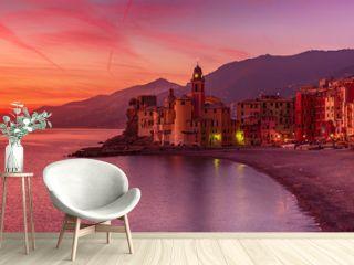 Camogli city at sunset