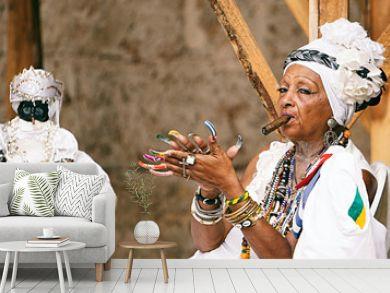 cuban santona smoking a cigar II , havana - cuba