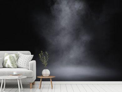empty floor with smoke on dark background