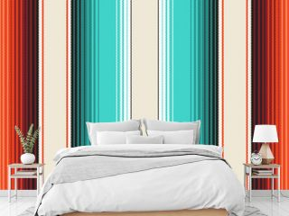Turquoise, Orange & Navajo White Mexican Blanket Serape Stripes Seamless Vector Pattern. Rug Texture with Threads. Native American Textile. Ethnic Boho Background. Pattern Tile Swatch Included
