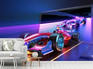 Racing car flying out of laptop screen