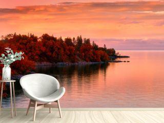 Sunset on Lake in Autumn