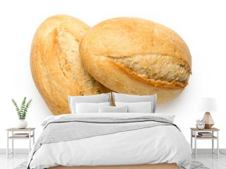 Two white french bread rolls isolated on white from above. Top view.