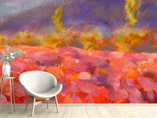 Oil Painting Lavender Field - Beautiful impressionism abstract flower painting Provence - Floral French Tuscan Landscape