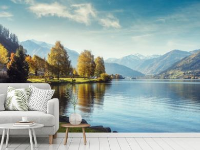 Impressively beautiful Fairy-tale mountain lake in Austrian Alps.