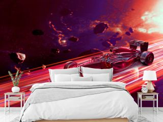 3D Render Illustration F1 Racing Car With Abstract Out Of Space  Speed Effect Background