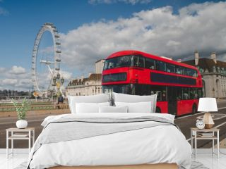 Iconic red double decker bus in London, UK. The London Bus is one of London's principal icons, the archetypal red rear-entrance Routemaster recognised worldwide.