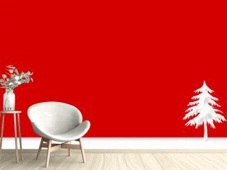 Winter house and tree simple background.  冬の家と木のシンプルな背景