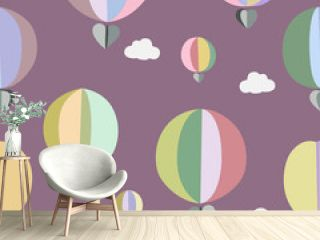 Balloons in the sky in pastel colors