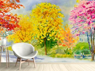 Painting red pink yellow flower tree roadside with traveling spring.