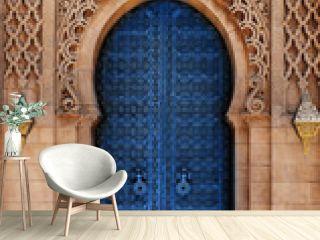 Arabic oriental styled door Classic Blue Pantone color in Morocco