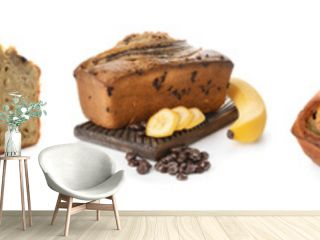 Collage with tasty banana bread on white background