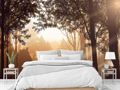 Light from a natural forest Jungle green mountains horizon trees Landscape wallpaper Sunrise and sunset  Illustration vector style Colorful view background