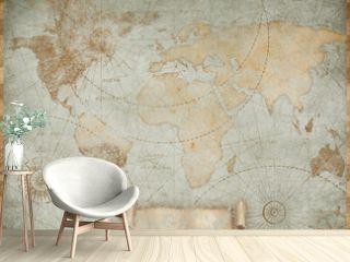Blue vintage world map illustration based on image furnished by NASA