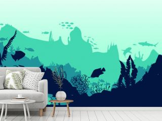 Sea scene with the underwater world. Coral reefs. Tropical sea with water mimicry and its inhabitants. Silhouette of fish and algae. Vector.