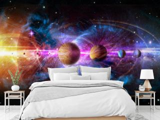 Solar system planets set. The Sun and planets in a row on universe stars and lines of gravity background. Elements of this image furnished by NASA.