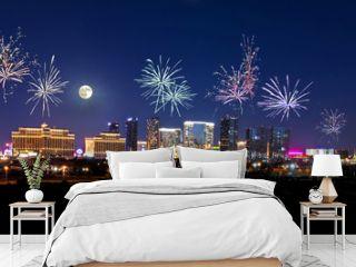 Fireworks over the Las Vegas Strip