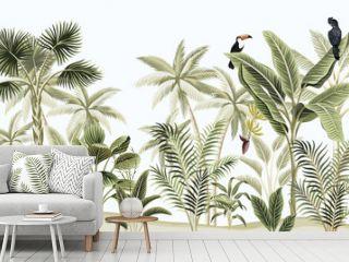 Tropical vintage botanical landscape, palm tree, banana tree, plant, black parrot, toucan floral seamless border blue background. Exotic green jungle animal wallpaper.