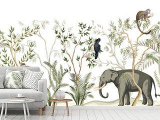 Tropical vintage botanical landscape, palm tree, plant, parrot, monkey, elephant floral seamless border white background. Jungle animal wallpaper.