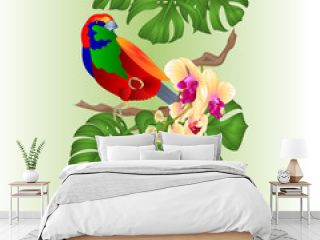 Vertical border seamless background tropical bird  and beautiful yellow orchid  phalenopsis   and philodendron  on a white background  vintage vector illustration  editable hand draw