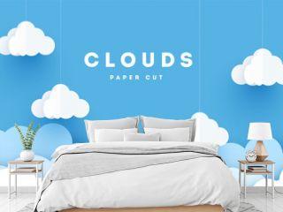 Vector paper clouds.White Cloud on blue sky paper cut design. Vector paper art illustration. Paper cut style. Place for text.