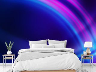 Dark blue abstract background with ultraviolet neon glow, blurry light lines, waves