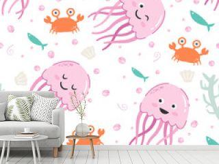 Adorable little pink jellyfish seamless pattern