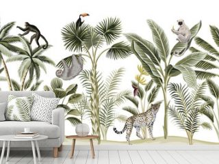 Tropical vintage botanical landscape, palm tree, banana tree, plant, sloth, monkey, leopard, lemur, parrot, toucan floral seamless pattern white background. Exotic green jungle animal wallpaper.
