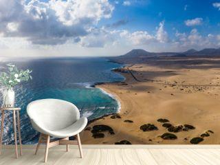 Fuerteventura, Corralejo sand dunes nature park. Beautiful Aerial Shot. Canary Islands, Spain