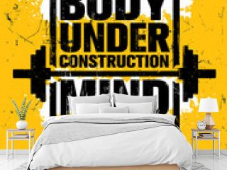 Body Under Construction. Mind On A Mission. Inspiring Gym Workout Typography Motivation Quote