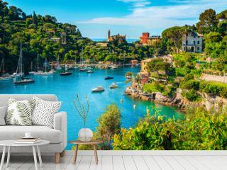 Mediterranean cityscape with spectacular harbor, Portofino, Liguria, Italy, Europe