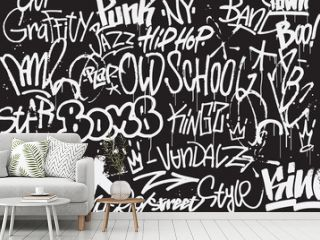 Graffiti tags background in black and white colors. Graffiti texture in hand drawn style. Old school street art. Element for t-shirt design, textile, banner. Vector illustration