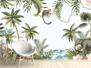 Tropical vintage botanical landscape, palm tree, plant, palm leaves, sloth, monkey, elephant wild animal, mountain island, sea waves floral seamless border blue background. Jungle animal wallpaper.