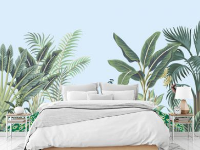 Tropical vintage peacock bird, palm tree and plant floral seamless border blue background. Exotic jungle wallpaper.