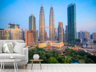 Kuala Lumpur, Malaysia. The Twin Towers and KLCC Park