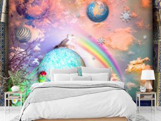 Fairy tales seaside with rainbow