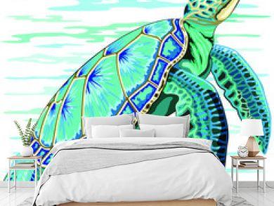 Sea Turtle Turquoise Oceanlife Vector Art