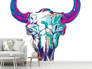 Skull of a bison. Stylish multi-colored print with an abstract background.