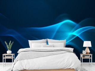beautiful abstract wave technology digital network background with blue light digital effect corporate concept